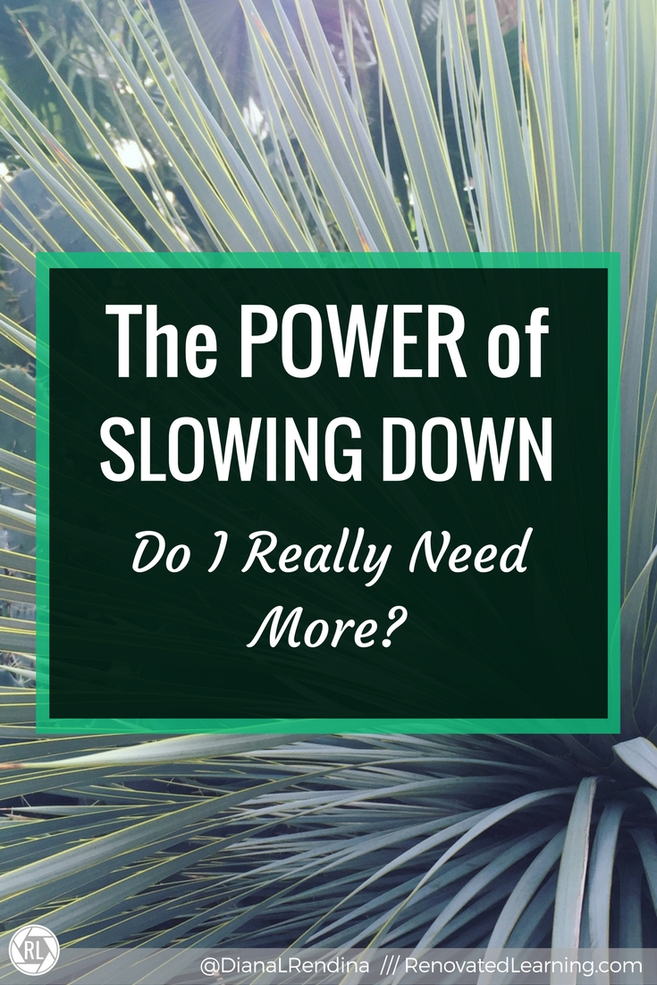 The POWER of Slowing Down: Do I really need more?   It's so tempting in life to keep adding more and more. More responsibilities. More commitments. More speaking engagements and writing commitments and webinars and articles. But it's okay to slow down.